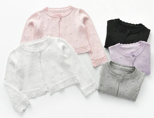 Flower Girl Sweater One Button Cotton Hollow Cardigan 5 Colors Choice Long Sleeves Air Conditioner Clothes
