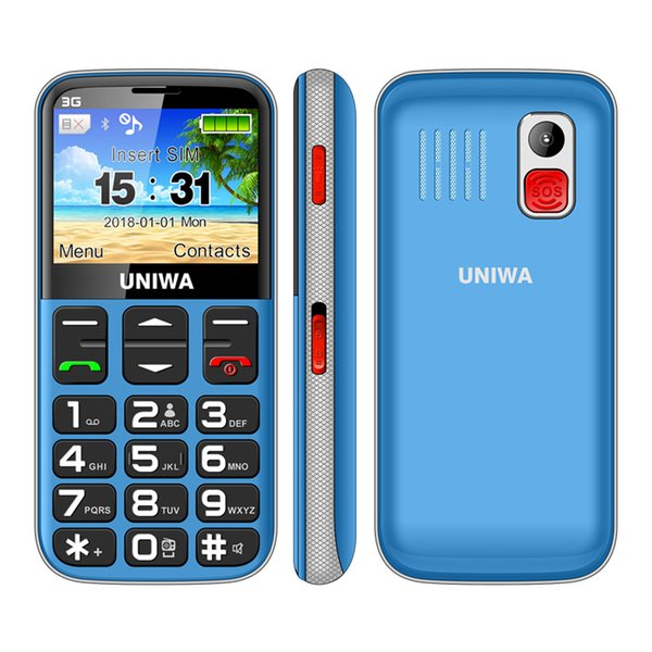 Uniwa V808G Old Man Mobile Phone 1400mAh 2.31 Inch Curved Screen Cellphone 3G SOS Button Flashlight Torch Cell Phone For Elderly