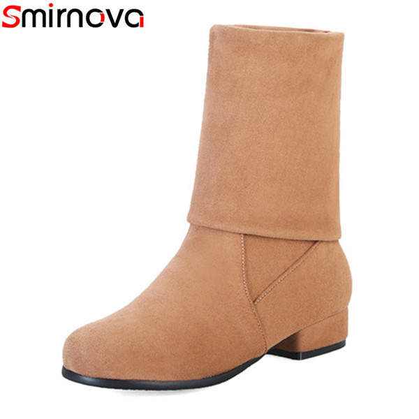 smirnova new arrival 2018 mid calf boots round toe casual women's winter boots solid round toe 3cm thick low heels