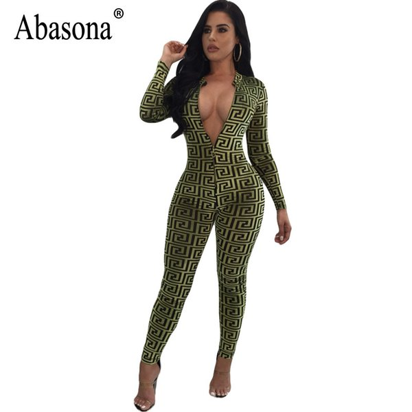 abasona women jumpsuits vintage printed long sleeve overalls autumn skinny long pants front zipper club rompers womens jumpsuit, Black;white