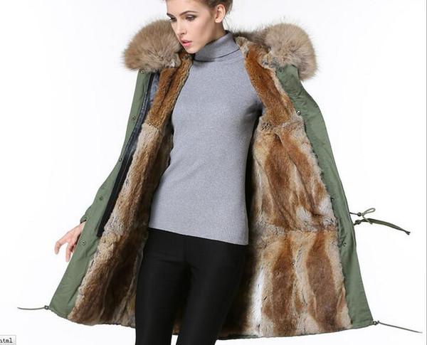 brown fur trim Meifeng brand women winter snow coats Khaki rabbit fur lined army green canvas long parka with ykk zipper