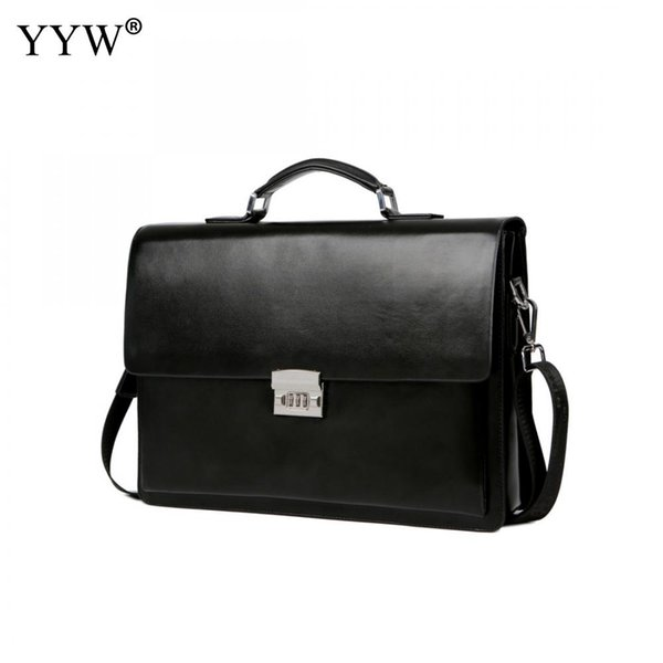 Men's Executive Briefcase Business Male Bag Black Portfolio Tote Bags for Men A Case for Documents Classic PU Leather Handbag