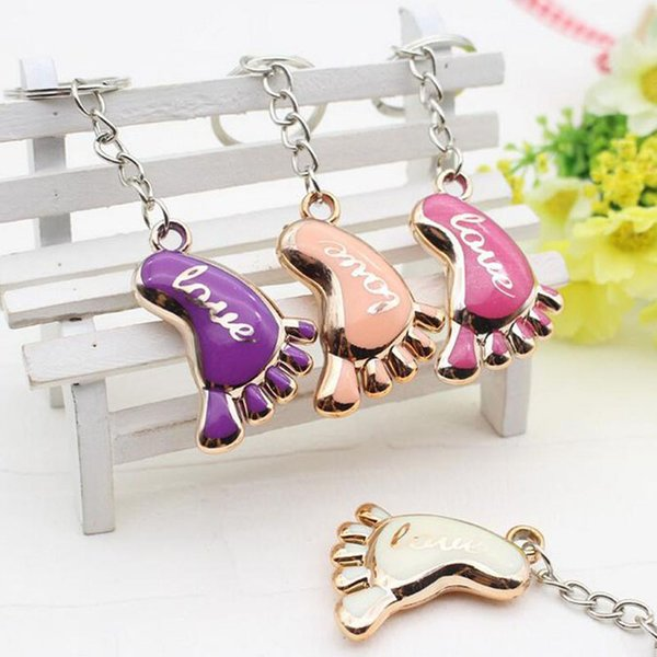 Cute Mini Foot Shaped Keychains Love Keyrings for Baby Shower Baptism Gifts Giveaway Souvenirs Free Shipping 100pcs/lot