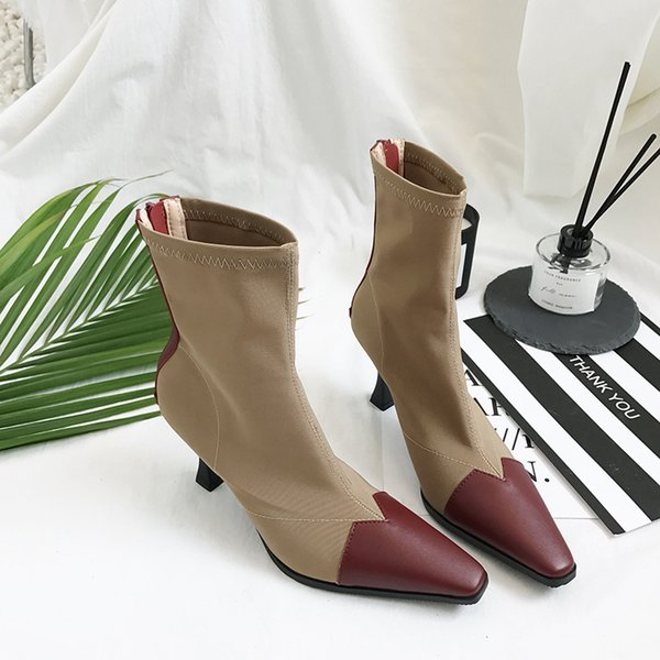 dfc410b245b Famous Brand Autumn Winter Boots Women Stretch Slim Leg Shoes Short Boots  Mid-Calf Women Pointed Toe Patchwork Booties Ladies