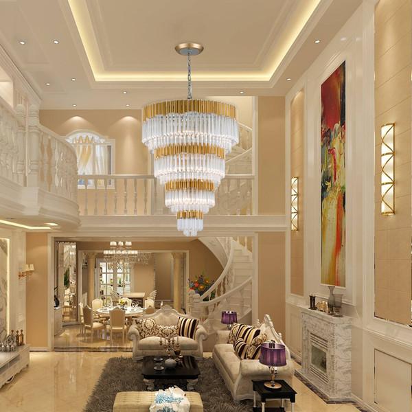 Acheter Youlaike Luxe Moderne En Cristal Lustre Pour Escalier De Luxe Hall  Foyer Suspendu LED Lampes D\'or Intérieur Hall D\'entrée Éclairage De ...