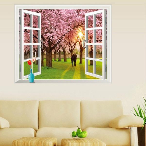 amant couple couleur rose Fleur de cerisier arbre sticker mural stickers muraux de vue de la fenêtre 3D paysage paysage mural de mariage décoration de la maison