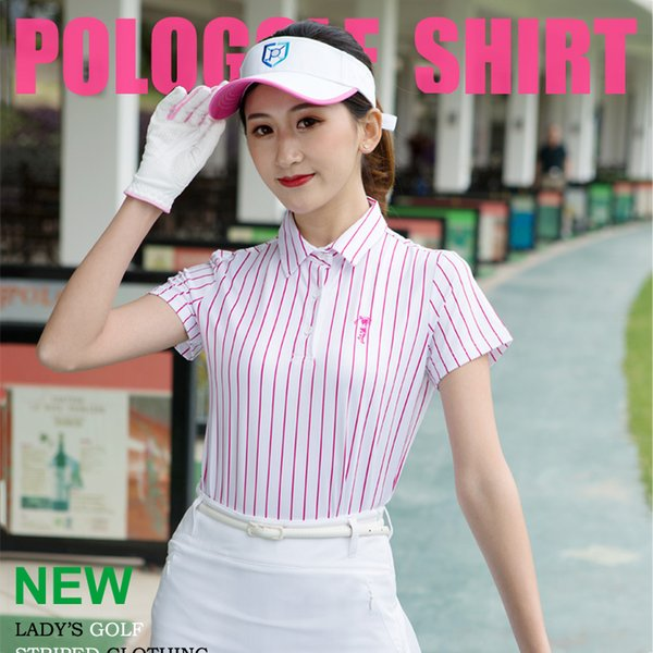POLO Golf Shirt Womens Tops and Blouses Summer New Golf Apparel Short Sleeved T-shirt Striped T Shirt Breathable