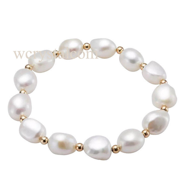 Baroque Freshwater Cultured Pearl 9-10mm Bracelet 9K Yellow Gold 3mm Stretch