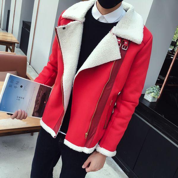 Red Parka Mens Khaki Shearling Jackets Mens Bomber Jackets Man Winter Erkek Haki Parka Fur Coats Blue Vintage Slim Fit