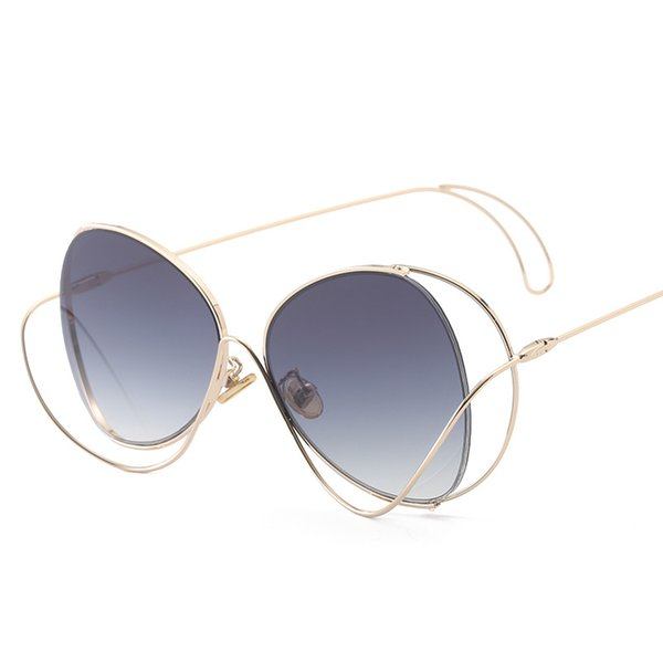 Designer de marca de luxo óculos de sol para as mulheres estrela curva  estrutura óculos de sol estilo de personalidade rua tiro proteção UV óculos  lisos 36a5c8c689