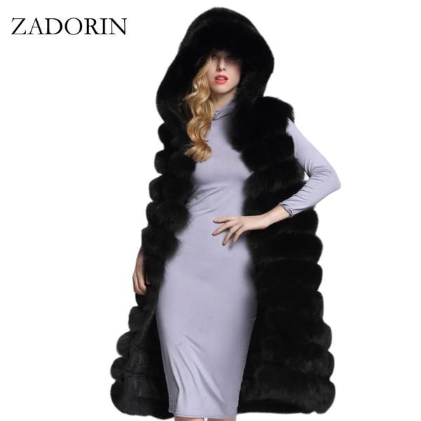 New Luxury Thicken Long Faux Fur Vest Sleeveless Winter Jacket Women Furry Hooded Fake Fur Coats casaco feminino abrigos de piel