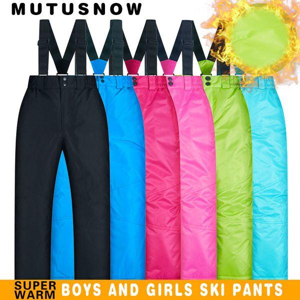 Pantaloni da sci Bambini Ragazzi e ragazze Outdoor Addensare Pantaloni impermeabili per bambini invernali e da sci WarmSnow