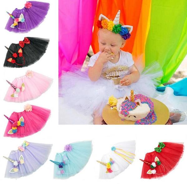 Tutu gonna unicorno con fiori fascia per bambini trambusto festa di compleanno Tulle Tutu vestito per foto Bambini Costume Set