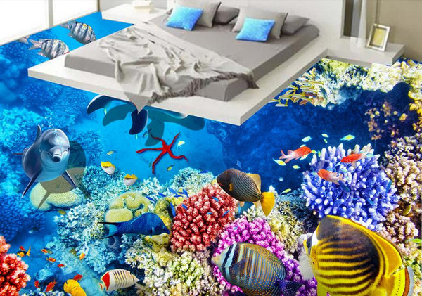Grosshandel Benutzerdefinierte 3d Stereo Fototapete 3d Dolphin Korallenboden Windows Landschaft Tv Sofa Hintergrund Wand Wandbilder Wohnzimmer