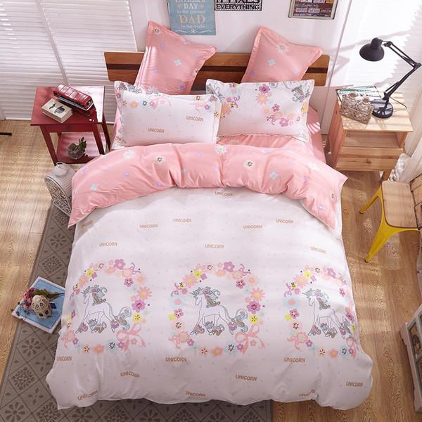 Cartoon Unicorn Bett Bettwäsche Tagesdecke Bettbezug Fied Flachbettlaken Kissenbezug Twin Size Bettwäsche Bettbezug Set Queen King