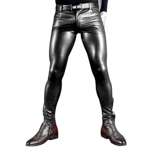 Sexy Men Faux Leather Pu Matte Shiny Fashion Pants Role Men X Soft Skinny Gay Pants Zipper Open Pencil Gay Wear FX130
