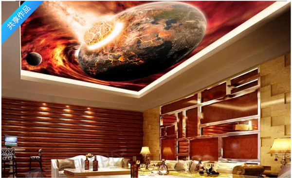 Custom 3D Photo Ceiling Wallpaper Cosmic Big Bang Earth Cool Theme Bar Zenith Mural Wall Papers Home Interior Decor wallpaper for walls 3d