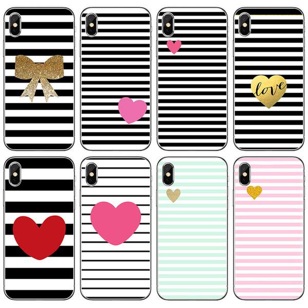 [Tongtrade] soft silicone tpu case capa para iphone x 8 7 6 s 5 s plus tarja preto e branco amor galaxy s9 / s8 / s7 / s6 borda plus case