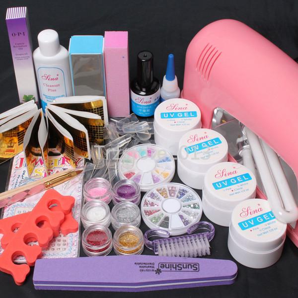 Wholesale Nail Art Set - Random Color 9W UV Dryer Lamp & Mix Color Acrylic Powder Tips UV Gel #62