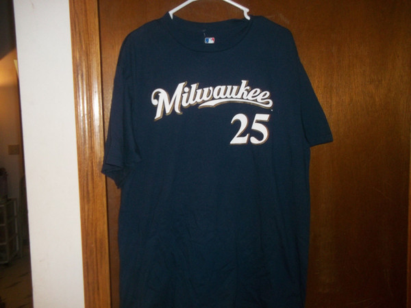 finest selection 56f16 e653a Milwaukee Brewers Mike Cameron #25 Jersey T Shirt NWT Large New Top Tees  Style Fashion Men T Shirts 100% Cotton Classic Really Funny T Shirts Funny  ...