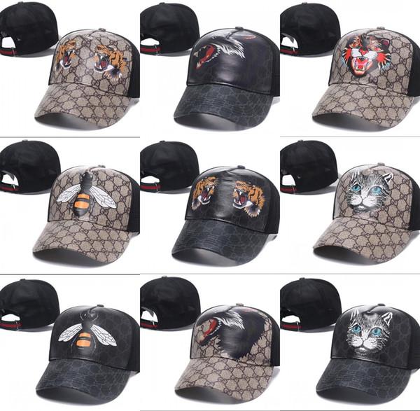2018 nova capa de couro de cobra tigres snapback bonés de beisebol chapéus de lazer abelha snapbacks chapéus de golfe ao ar livre chapéu de esportes para mulheres dos homens casquette