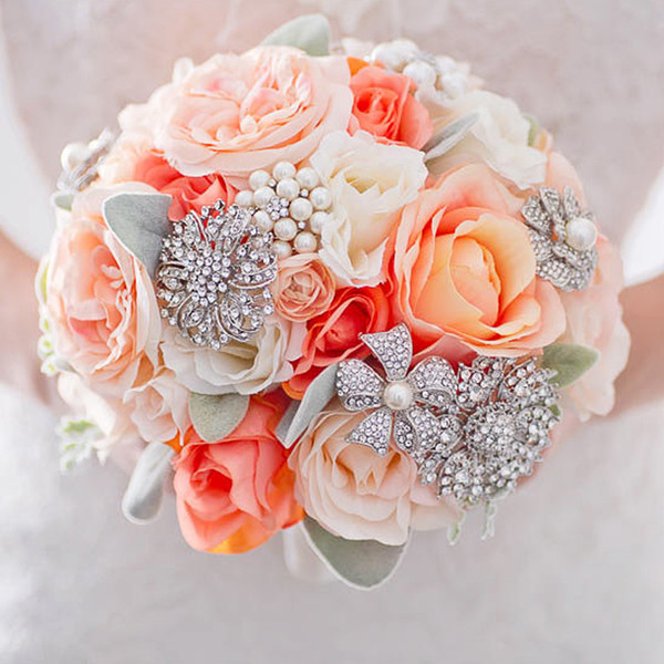 Custom brooch jewelery simulation flower bride bouquet orange coral ivory wedding rose bouquet