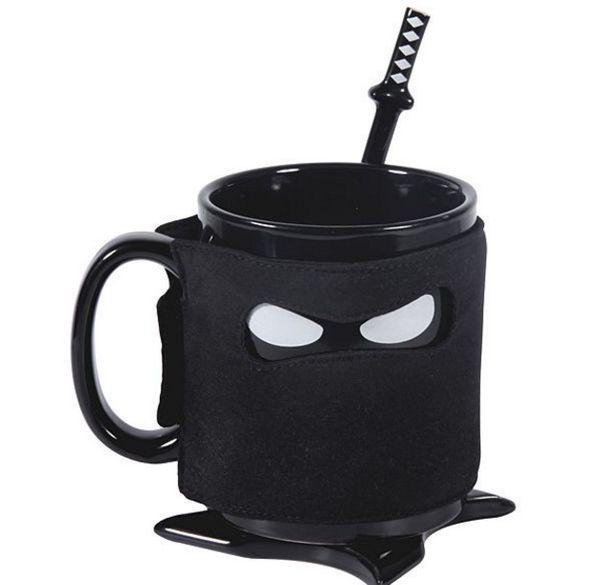 Creativo Ninja Mug Black Mask tazza di ceramica con regali cucchiaio Spada del latte del caffè del tè Tazze novità