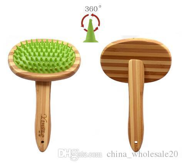 Free Shipping Bamboo Wood Pet Massage Silicone Balloon Bath Dog Beauty Comb Bath Brush Pet Supplies