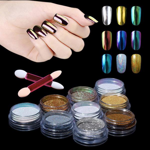 CLAVUZ 1g Métal Effet Miroir Holographique Chrome Poudre Éponge Bâton Nail Art Glier Poudre Bling Pigment Pour Glier Poli
