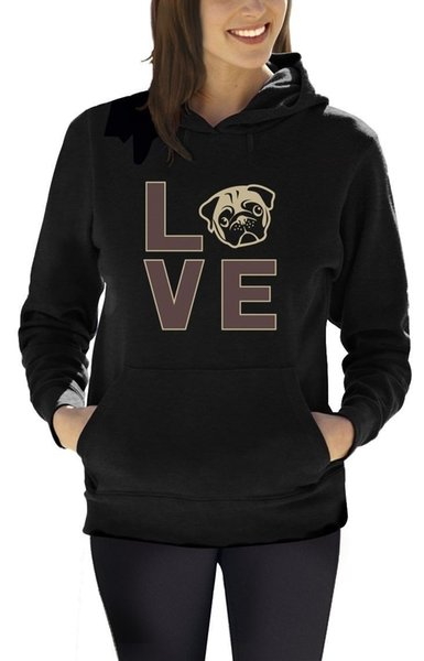 Love Pugs - Cute Pug Face Dog Lovers Gift Idea Women Hoodie Animal Lover