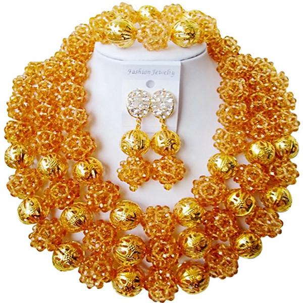 Cheap Champagne Gold African Anniversary Present Women Crystal Beads Jewelry Set 3C-SJXJS-01