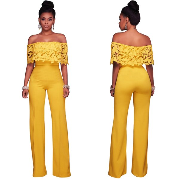 S-XXL IMYSEN Summer Fashion Jumpsuit Women Sexy Lace Romper Straight Collar New Autumn Long Jumpsuits big Size One Piece Wear