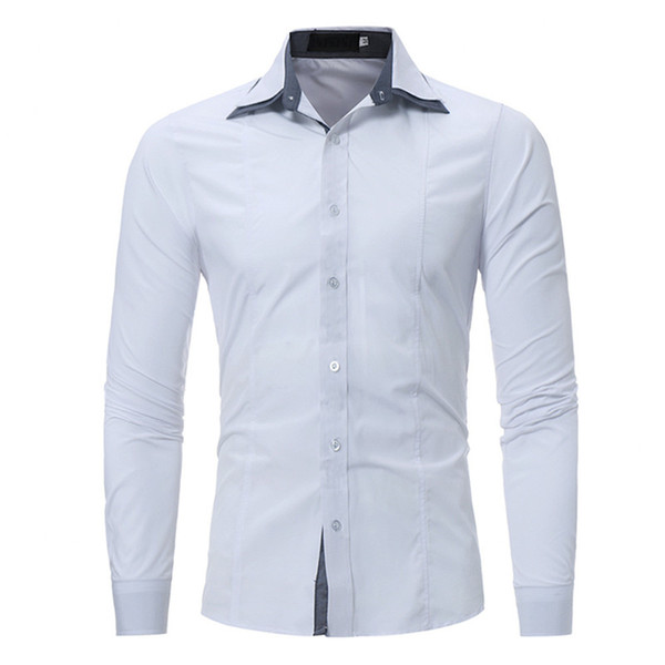 Hole Patchwork Sleeve Shirts Business Black Casual Blouse Fashion Office Work Tops 2018 Hot Sale Double Collar Men Slim Shirt