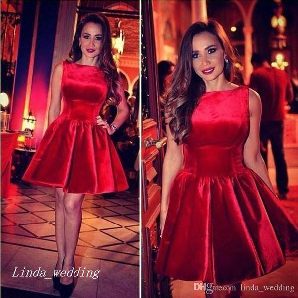 Corto una línea de cuello redondo vestido de fiesta vestido de fiesta de color rojo las mujeres usan más el tamaño por encargo vestidos de festa