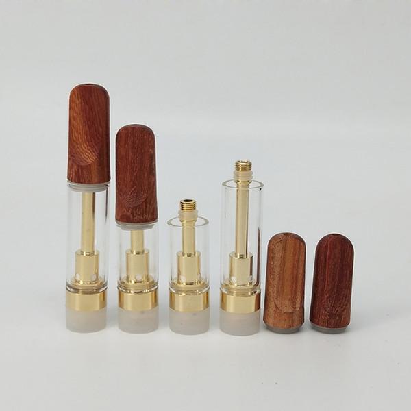 Оптовая золотой цвет .5 мл 1 мл 510 резьба стеклокерамическая катушка th205 TH210 Vape картридж с деревянным наконечником для густого CO2 вязкого масла