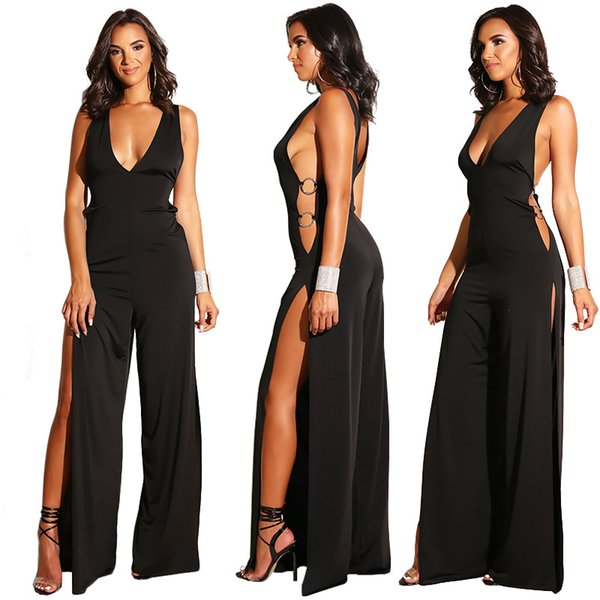 Tasarımcı Kadın Giyim Kadın Tulum Yüksek Bölünmüş Hollow Out Siyah Rompers Yenilik Derin V Boyun Bölünmüş Playsuit Kolsuz Vücut Femme 2056