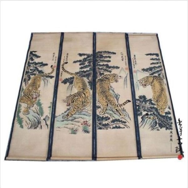 4PCS Chinese antique hand painting Paper scroll SET Tiger Pine landscape
