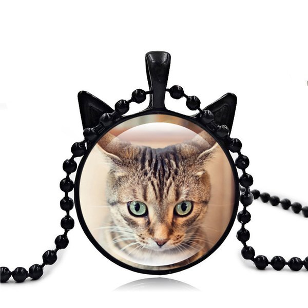 New Pattern Ornaments Restore Ancient Ways The Cat Face Time Jewel Glass Pendeloque Cut Necklace Heat Sweater Chain