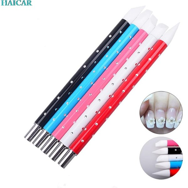 Wholesale- 5Pcs Nail Art Designer Pen Nail Tools Silica gel Nail Brushes feb6
