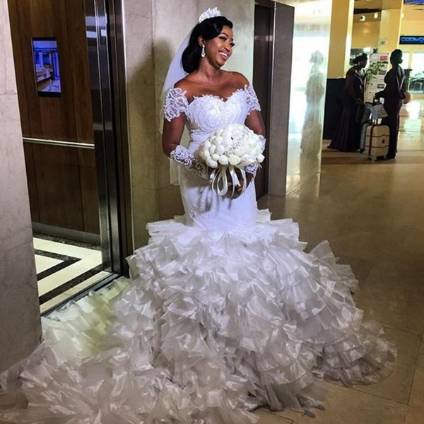 Cathedral Ruffles Train Mermaid Wedding Dresses with Illusion Long Sleeve 2019 Plus Size African Nigeria Lace Organza Wedding Gown