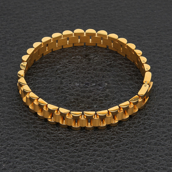 Men Stainless Steel Hip hop Style Bracelet 24k Gold Silver Watch Brand Bracelet Link Fashion Punk Jewelry 10mm 21mm