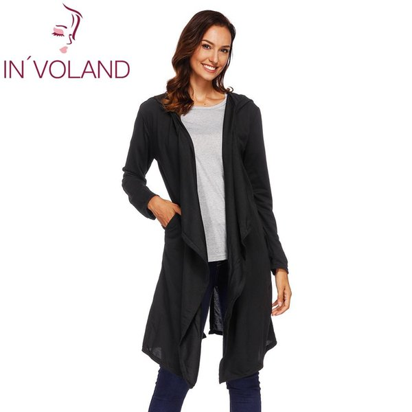 Women Cardigans Black Hooded Long Collar Fashion Sleeve Open Winter design Solid Coat Casual Front