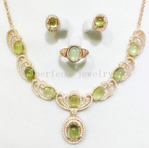 Prehnite set Natural real prehnite 925 sterling sliver 1pc ring ,1pc necklace,1pair stud earring 1.3ct*9pc,3ct*2pc gem #15032008