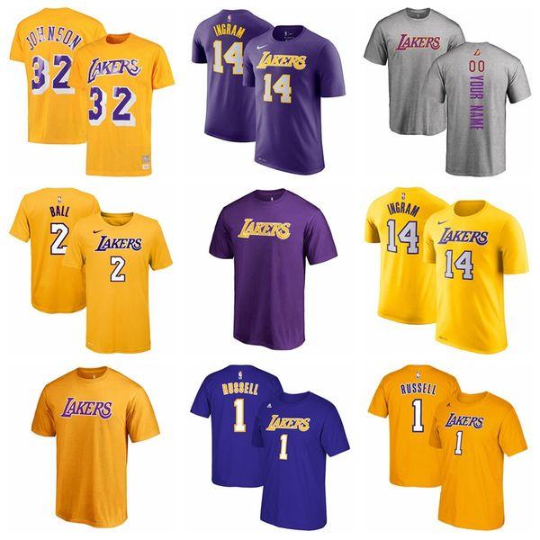 996c143e 2018 New Los Angeles Lakers 32 Magic Johnson Basketball T Shirt Custom Name  Men Women Kid Shirt 2 Lonzo Ball Lakers T Shirt One Day T Shirt Best Site  ...