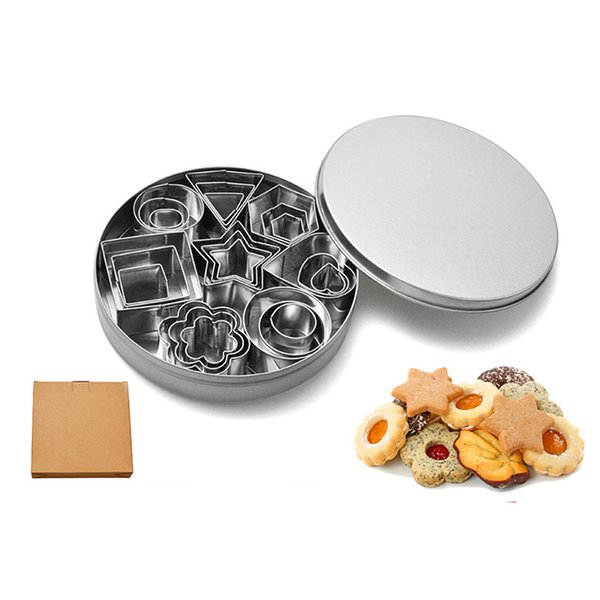 24pc/set Baking Moulds Stainless Steel Cookie Cutters Plunger Biscuit DIY Mold Star Heart Cutter Baking Mould Stencils Pastry B