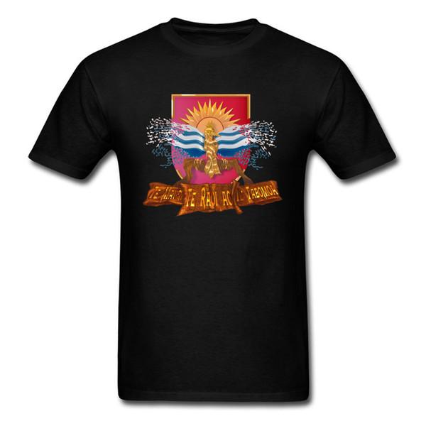 Kiribati Independence Celebration 13th July Cool Mens Black Tshirt Flying Flag Bird Printed T Shirt For Men Custom Clothing