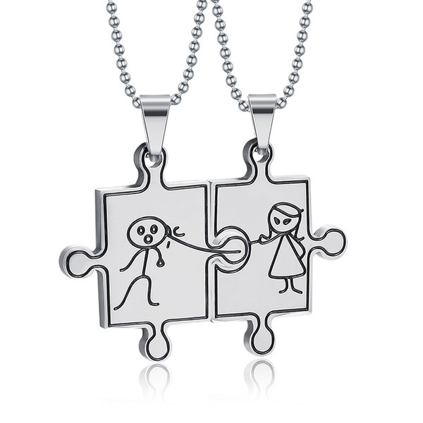 His and Her Jigsaw Puzzle Love Necklace 316L Stainless Steel Couple Necklace for Women Men Valentine's Jewelry Free Chain