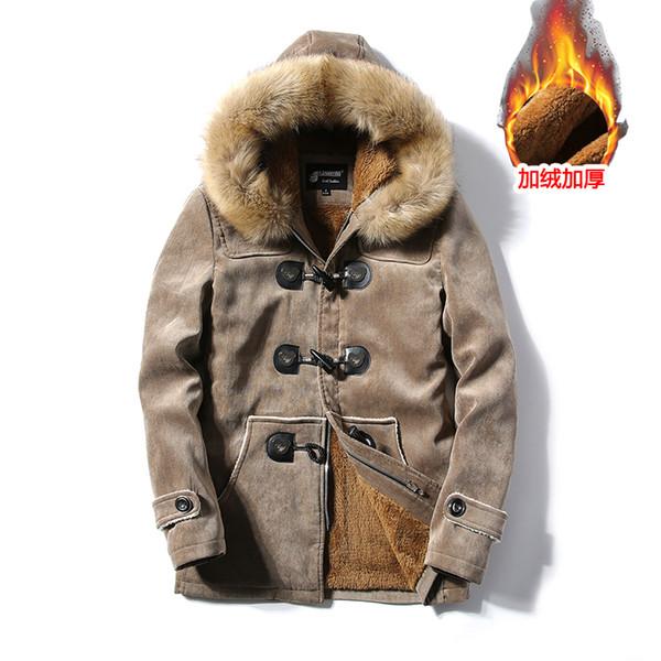 Hombre invierno Botón de cuerno de ganado Cuello de piel grande Abrigo de lana de terciopelo Cálida chaqueta larga cálida pareja larga Parkas