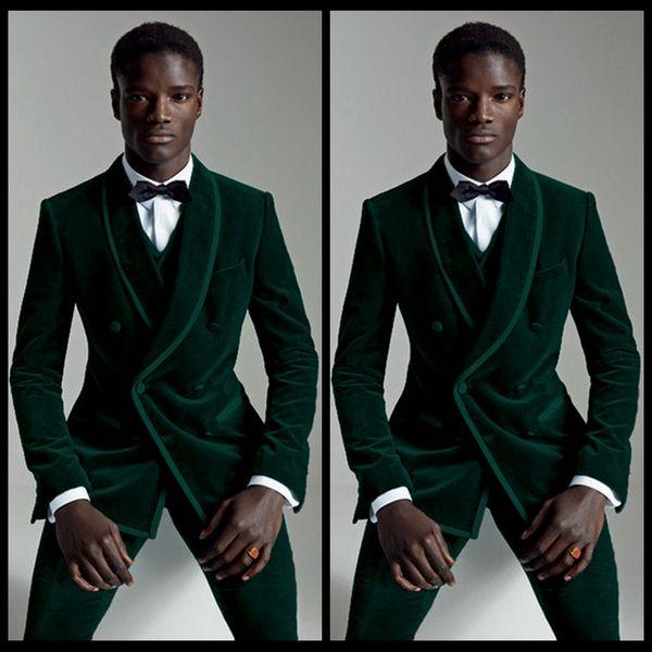 Elegante Dunkelgrün Männer Anzug Slim Fit Bester Mann Bräutigam Groomsmen Smoking Lässige Samt Prom Hochzeit Anzüge (Jacke + Pants + Weste)