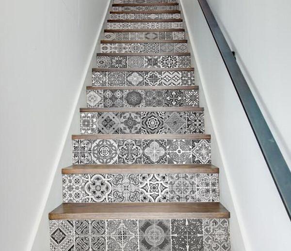 Etiquetas engomadas de la escalera de la vendimia papel pintado patrón geométrico autoadhesivo etiqueta engomada de la escalera en blanco y negro pegatinas impermeables decoración del hogar de la vendimia